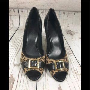 Franco Sarto Calf hair leopard peep toe heels